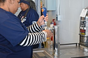 The very first America's Pastime Summer Ale being poured at the ballpark.