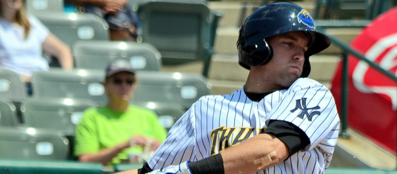 Jake Cave with the Trenton Thunder in 2014 (Rand Greenblatt)
