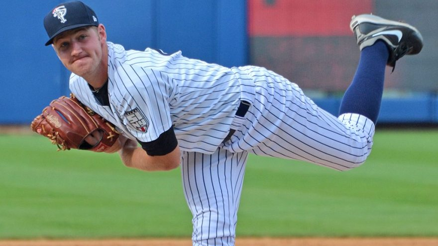 Yankees prospect Dietrich Enns with the Staten Island Yankees during the 2012 season (Robert M. Pimpsner)