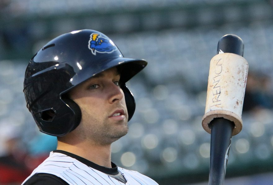Trenton Thunder left fielder Jake Cave on deck during a game against the Portland Sea Dogs at ARM & HAMMER Park in Trenton on Wednesday, April 13, 2016. Photo by Martin Griff