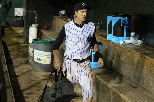 Trenton Thunder right fielder Lane Adams is the last one out of the dugout after a game against the Portland Sea Dogs at ARM & HAMMER Park in Trenton on Wednesday, April 13, 2016. Adams hit a game winning home run in the 8th inning. Photo by Martin Griff