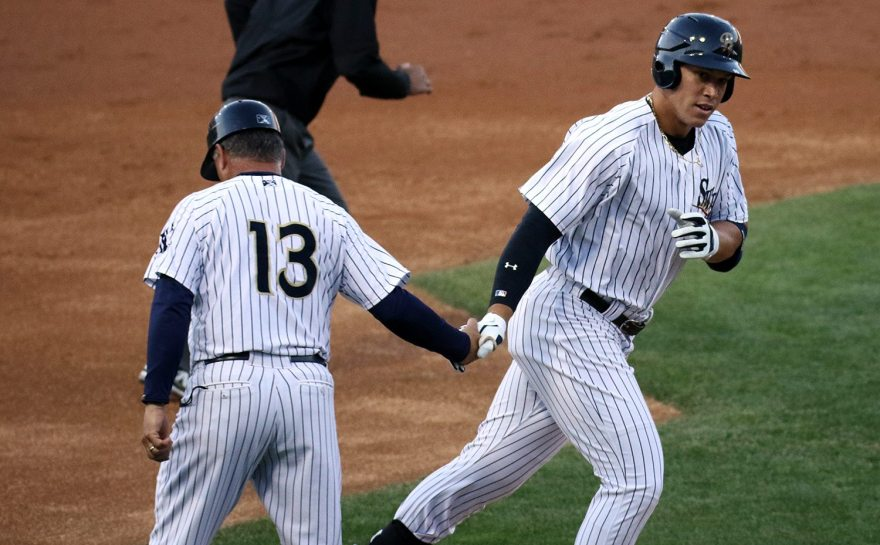 Aaron Judge, right, leads the International League in home runs with 15. (Photo by Martin Griff)
