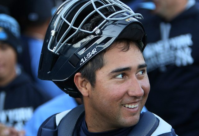 Trenton Thunder catcher Francisco Diaz in the dugout before a game against the Portland Sea Dogs at Arm & Hammer Park in Trenton on Tuesday, April 12, 2016. The 26 year old native of Venezuela was signed by the Yankees as a Minor League free agent on Feb. 5 2016. Photo by Martin Griff
