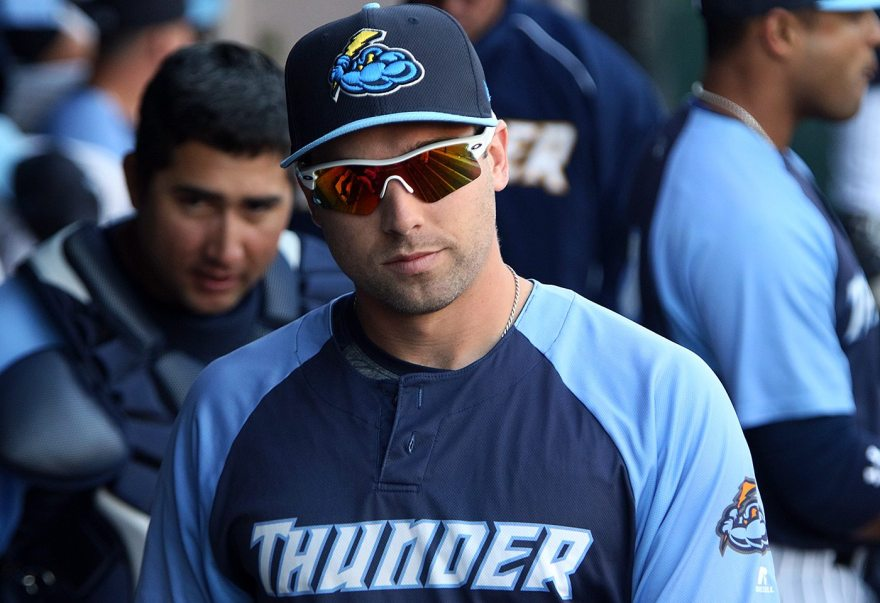 Trenton Thunder outfielder Jake Cave in the dugout before a game against the Portland Sea Dogs at Arm & Hammer Park in Trenton on Tuesday, April 12, 2016. The 23 year old was selected by the New York Yankees in the sixth round of the 2011 First-Year Player Draft out of Kecoughtan High School in Hampton, Va. Photo by Martin Griff