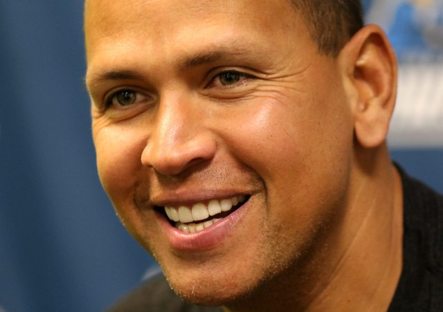 New York Yankees slugger Alex Rodriguez at a press conference at ARM & HAMMER Park in Trenton on Wednesday, May 25, 2016 before a game against the New Hampshire Fisher Cats. Rodriguez joined the Double A Trenton Thunder team for a second day as part of a rehab assignment. Photo by Martin Griff