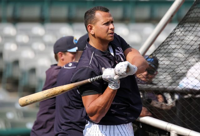 New York Yankees slugger Alex Rodriguez takes batting practice with the Trenton Thunder at ARM & HAMMER Park in Trenton on Tuesday, May 24, 2016 before a game against the New Hampshire FisherCats. Rodriguez joins thr Double A team as part of a rehab assignment because of a hamstring injury Photo by Martin Griff