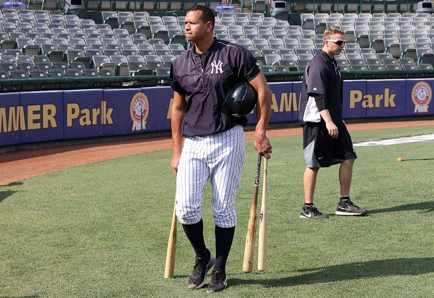 New York Yankees slugger Alex Rodriguez leaves the field after taking batting practice with the Trenton Thunder at ARM & HAMMER Park in Trenton on Tuesday, May 24, 2016 before a game against the New Hampshire FisherCats. Rodriguez joins the Double A team as part of a rehab assignment because of a hamstring injury Photo by Martin Griff