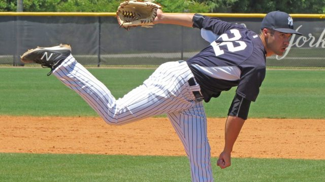 New York Yankees minor league prospect Josh Roeder on the mound in an extended spring training game at the Yankees Himes Complex (Bryan Green)