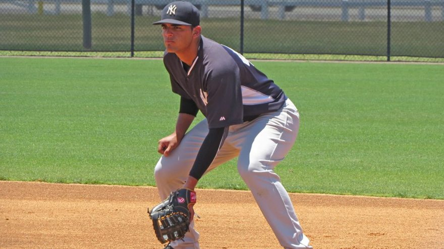 New York Yankees minor league prospect Miguel Flames in the field during an extended spring training game at the Yankees Himes Complex (Bryan Green)