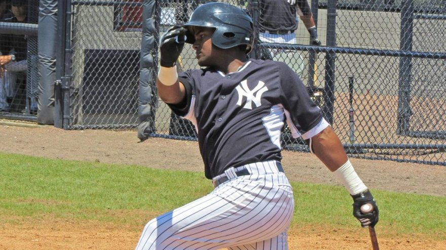 New York Yankees minor league prospect Welfrin Mateo at the plate in an extended spring training game at the Yankees Himes Complex (Bryan Green)