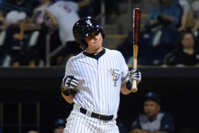 Staten Island Yankees DH Dalton Blaser reacts to getting hit by the pitch in the 10th inning of the home opener against the Brooklyn Cyclones (Robert M. Pimpsner/RMP Sports Media, Inc.)