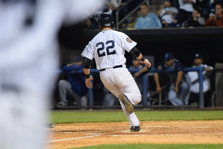 Dalton Blaser scores on the walk-off hit by Kane Sweeney to give the Staten Island Yankees an extra-inning victory and the second no-hitter in team history. (Robert M. Pimpsner/RMP Sports Media, Inc.)