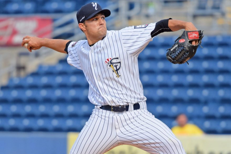 Since the game was resumed from last night Kolton Mahoney was called on to take the mound. The former starter gave the Yankees 7 strong innings, holding Vermont to 1 run and striking out 10. (Robert M. Pimpsner)
