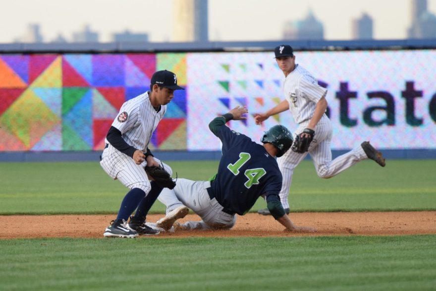 Vermont's Steven Pallares steals second base in the first inning (Robert M. Pimpsner)