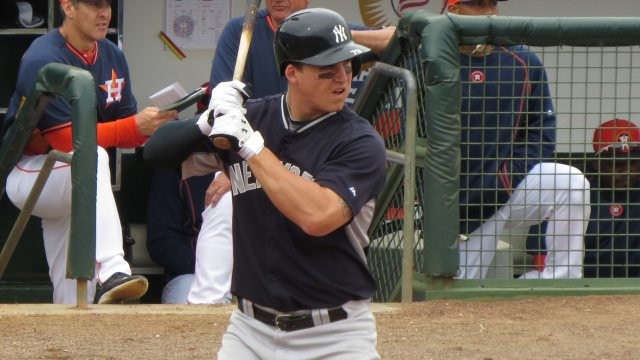 Tyler Austin in spring training with the New York Yankees in 2015 (Bryan Green)