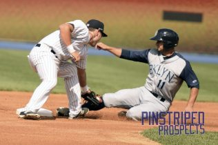 Staten Island Yankees second baseman Brandon Wagner left the game with a wrist injury (Robert M. Pimpsner)