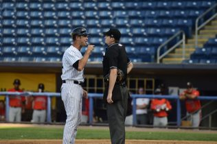 Staten Island Yankees manager Pat Osborn was ejected. (Robert M Pimpsner)