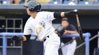 Danienger Perez with the Staten Island Yankees in 2015 (Robert M. Pimpsner)