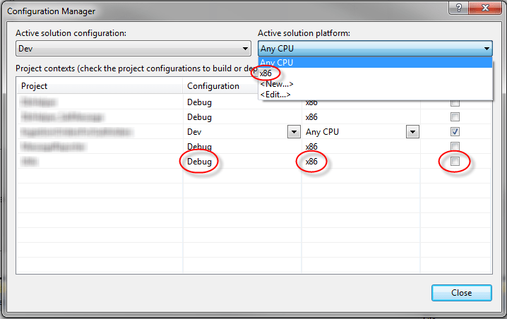 VS Configuration Manager Changed Values
