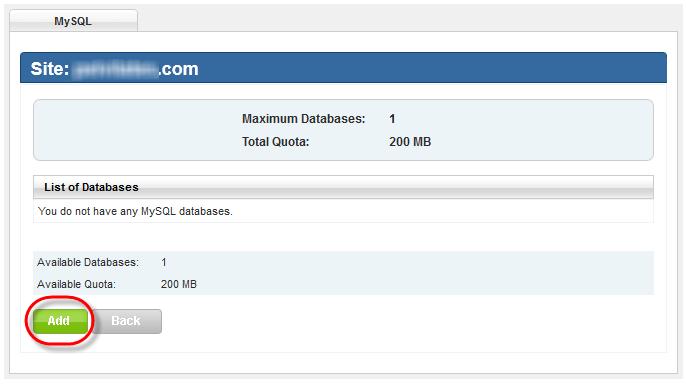 Winhost MySQL Setup Add