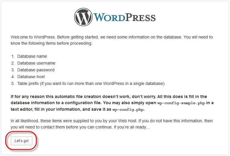 WodrPress Setup Config File Lets Go