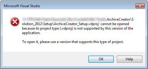 visual studio convert to 2012 setup project not supported