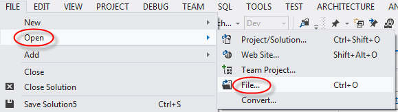 visual studio open file