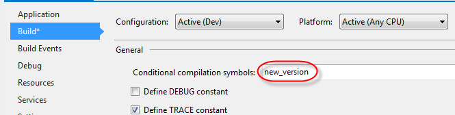 visual studio conditional compilation symbol in project
