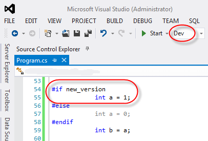 visual studio conditional compilation symbol true