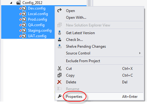 web application solution explorer show all files config_2012 folder files properties