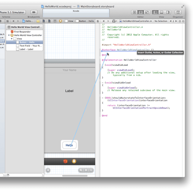 xcode dragging for action