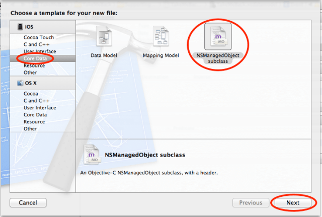 xcode data create managed object subclass