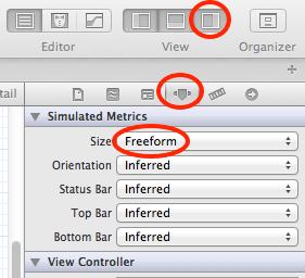 xcode set controller size freeform