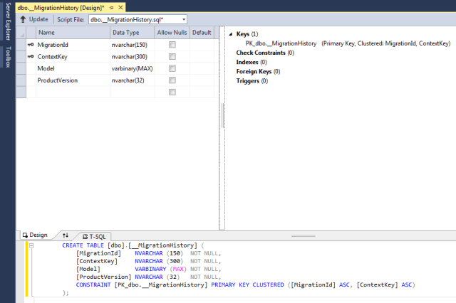visual studio script database table result