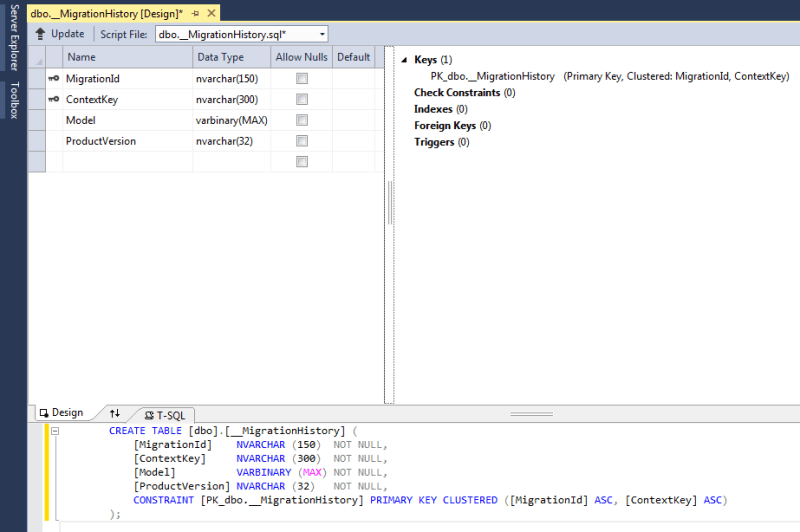 visual studio script database table result