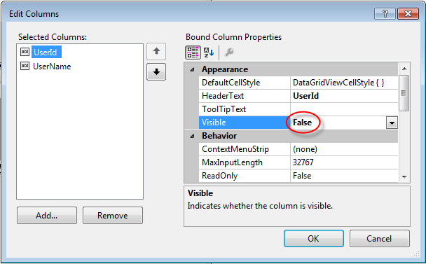 Visual Studio DataGridview Column visibility