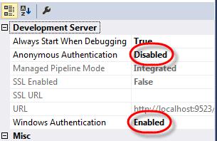 Visual Studio IIS Express Windows Authentication Properties Window