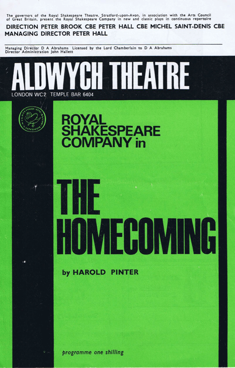 Programme Cover, The Homecoming, Royal Shakespeare Company (1965)