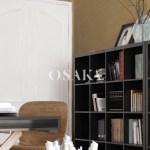 Osaka pintura decorativa damasco efecto estuco seda terciopelo color esencia marron beige despacho 5