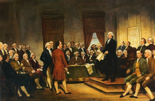 The Constitutional Convention, 1787. Many of these men went on to join the First Congress, which wrote the Bill of Rights, including the Second Amendment, in 1789.