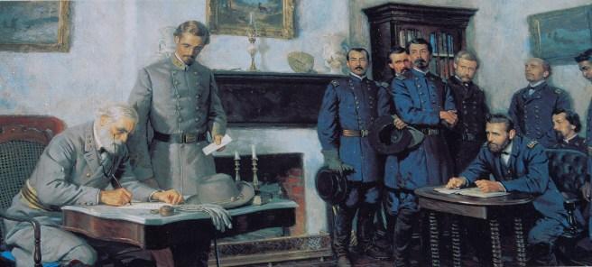 Confederate commander Robert E. Lee surrenders