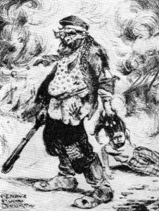 1906 caricature of a pogrom in Białostocki, Russia, by Henryk Nowodworski.