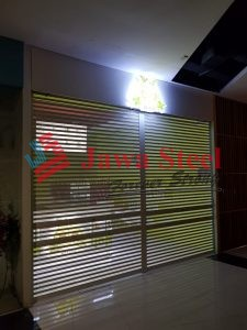 Rolling door perforated avocado lovers di east coast mall, pakuwon city