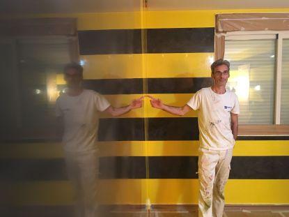 Estuco Veneciano Original a rayas amarillas y negras Borussia Dortmund (25)