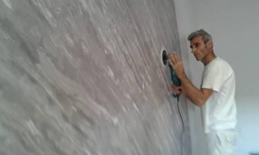 Puliendo Estuco Marmoleado 2 colores gris