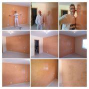 Estuco Veneciano Espatuleado con Vetado Color Naranja - COLLAGE