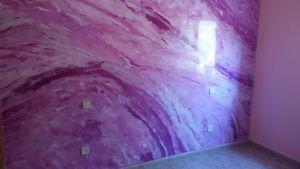 Estuco Marmol a 3 colores Violeta con cera (17)