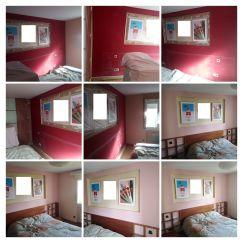 Dormitorio antes y despues Rojo a Rosa -COLLAGE