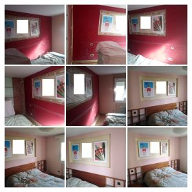 Dormitorio antes y despues Rojo a Rosa -COLLAGE