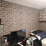 Habitacion Papel pintado labrillo y plastico sideral color gris (7)